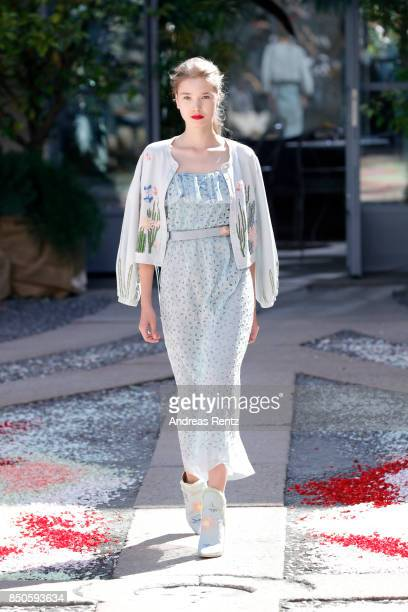 A model walks the runway at the Luisa Beccaria show during Milan Fashion Week Spring/Summer 2018 on September 21 2017 in Milan Italy