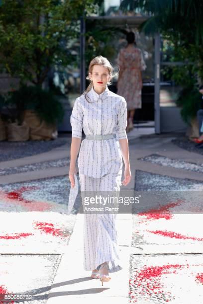 Model walks the runway at the Luisa Beccaria show during Milan Fashion Week Spring/Summer 2018 on September 21, 2017 in Milan, Italy.