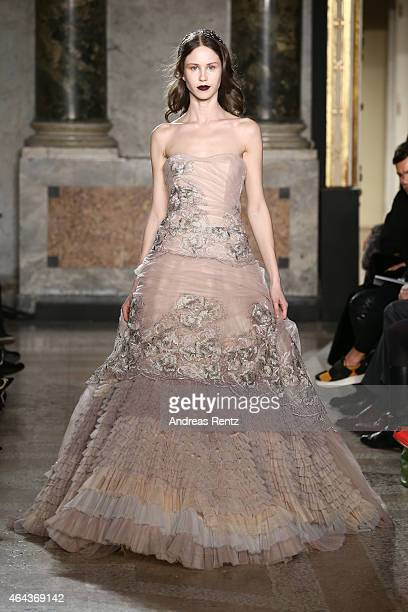 A model walks the runway at the Luisa Beccaria show during the Milan Fashion Week Autumn/Winter 2015 on February 25 2015 in Milan Italy