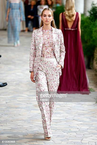 A model walks the runway at the Luisa Beccaria show Milan Fashion Week Spring/Summer 2017 on September 22 2016 in Milan Italy