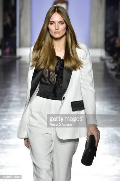 A model walks the runway at the Luisa Spagnoli show during Milan Fashion Week Spring/Summer 2019 on September 18 2018 in Milan Italy
