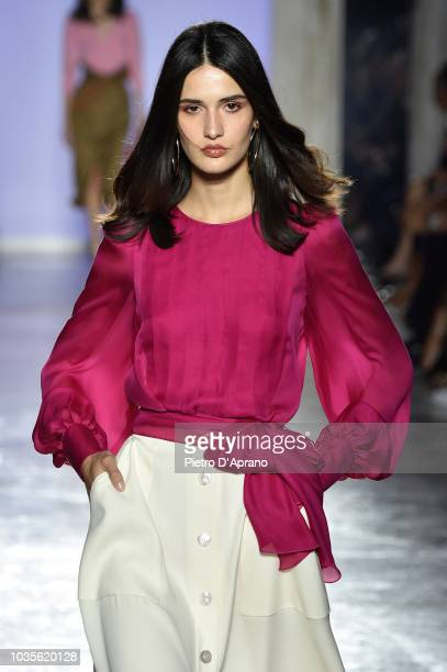 A model walks the runway at the Luisa Spagnoli show during Milan Fashion Week Spring/Summer 2019 on September 18 2018 in Milan Italy