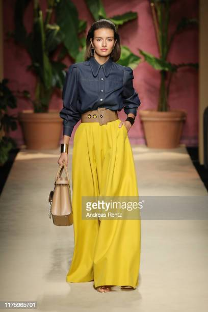 Model walks the runway at the Luisa Spagnoli show during the Milan Fashion Week Spring/Summer 2020 on September 20, 2019 in Milan, Italy.