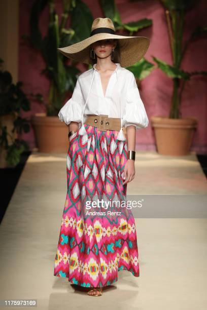Model walks the runway at the Luisa Spagnoli show during the Milan Fashion Week Spring/Summer 2020 on September 20, 2019 in Milan, Italy.