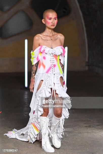 A model walks the runway at the Lula Laora show during LFW September 2020 at Studio Z Brixton on September 22 2020 in London England