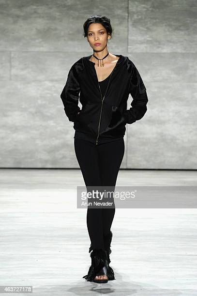 Model walks the runway at the Lupe Gajardo fashion show during Mercedes-Benz Fashion Week Fall 2015 at The Pavilion at Lincoln Center on February 17,...