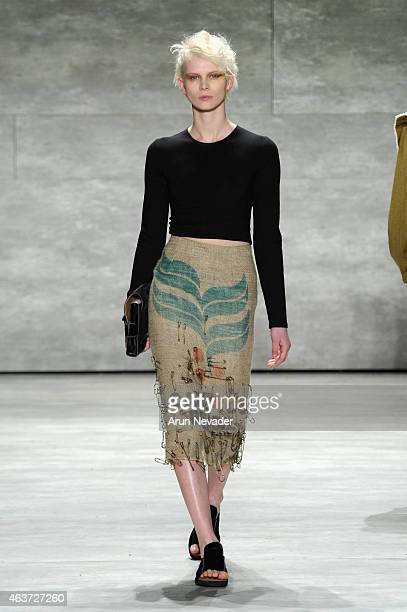 A model walks the runway at the Lupe Gajardo fashion show during MercedesBenz Fashion Week Fall 2015 at The Pavilion at Lincoln Center on February 17...