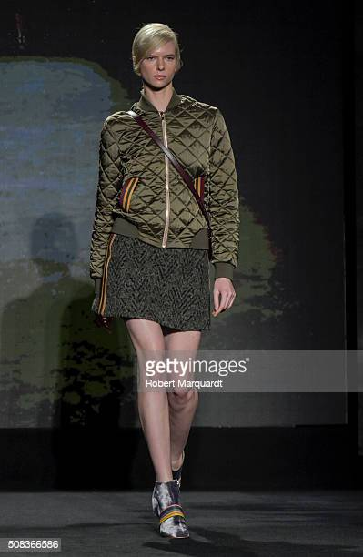 A model walks the runway at the Lupo Barcelona show during the Barcelona 080 Fashion Week Autumn/Winter 2016/2017 at Casa Llotja de Mar on February 4...