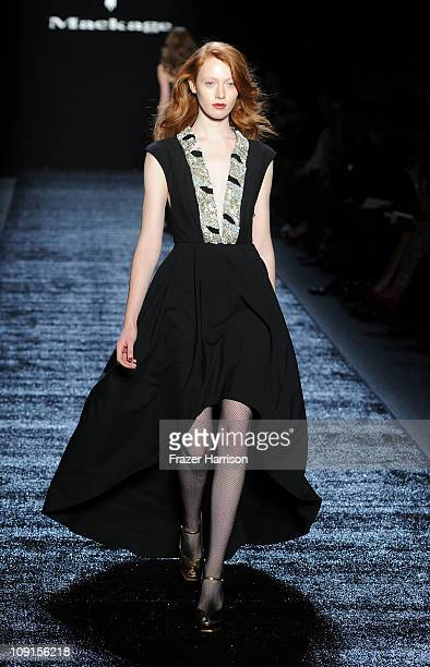 A model walks the runway at the Mackage Fall 2011 fashion show during MercedesBenz Fashion Week at The Studio at Lincoln Center on February 15 2011...