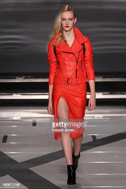 A model walks the runway at the Mackage Spring/Summer 2016 fashion show during World Mastercard fashion week on October 21 2015 at David Pecaut...