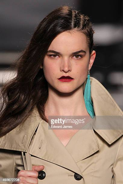 A model walks the runway at the Mackage Spring/Summer 2016 fashion show during World Mastercard fashion week on October 21 2015 at David Pecaut...