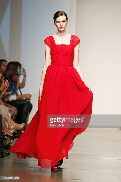 A model walks the runway at the Magdalena Adriane show during Nolcha Fashion Week New York Spring/Summer 2014 presented by RUSK at Pier 59 Studios on...