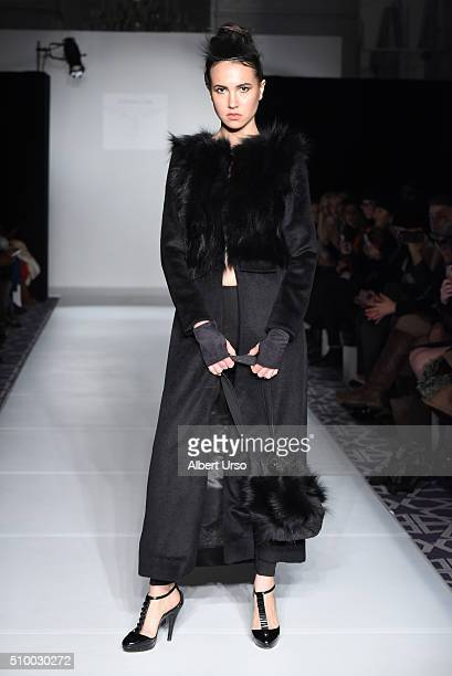 A model walks the runway at the Maison Cyma show during Fall 2016 New York Fashion Week at Affinia Hotel on February 12 2016 in New York City
