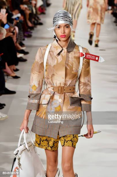 A model walks the runway at the Maison Magiela Spring Summer 2018 fashion show during Paris Fashion Week on September 27 2017 in Paris France