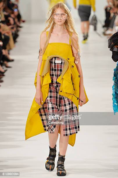 Model walks the runway at the Maison Margiela Spring Summer 2017 fashion show during Paris Fashion Week on September 28, 2016 in Paris, France.