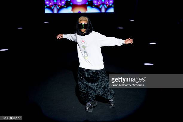 Model walks the runway at the Maison Mesa fashion show during Mercedes Benz Fashion Week Madrid April 2021 at Ifema on April 10, 2021 in Madrid,...