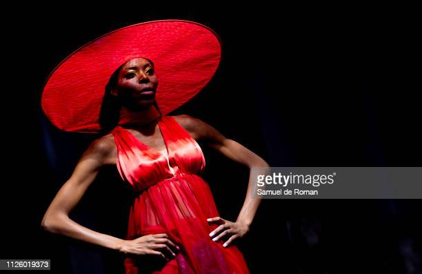 Model walks the runway at the Maison Mesa fashion show during the Mercedes Benz Fashion Week Autumn/Winter 2019-2020 on January 29, 2019 in Madrid,...