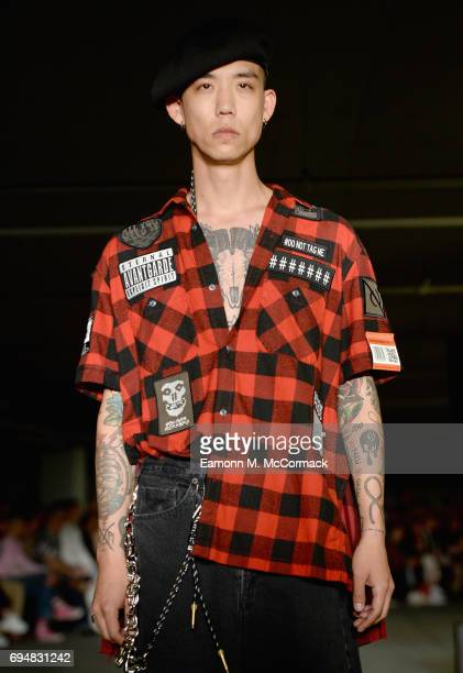 A model walks the runway at the Maison Mihara Yasuhiro show during the London Fashion Week Men's June 2017 collections on June 11 2017 in London...