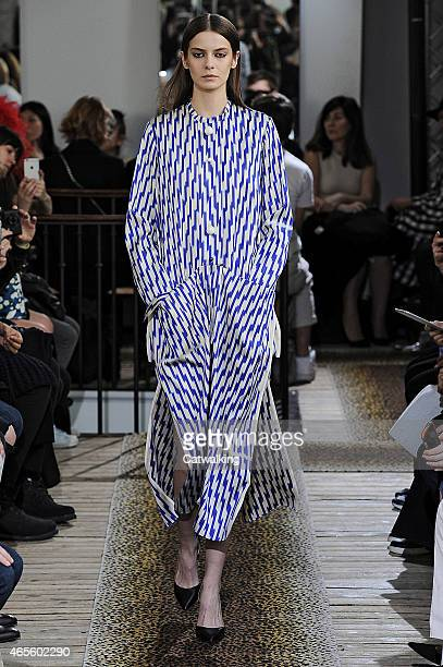 A model walks the runway at the Maison Rabih Kayrouz Autumn Winter 2015 fashion show during Paris Fashion Week on March 8 2015 in Paris France