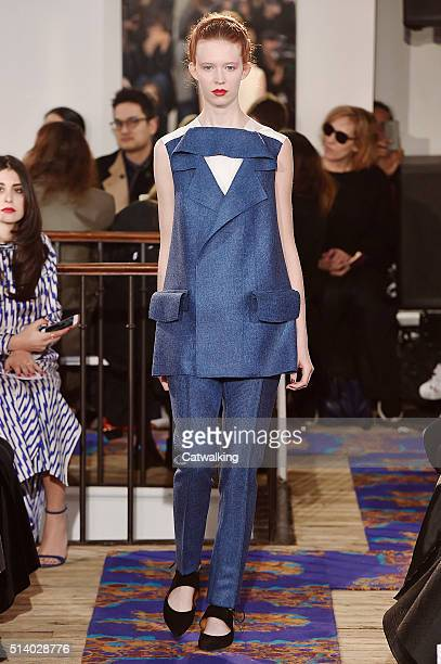 A model walks the runway at the Maison Rabih Kayrouz Autumn Winter 2016 fashion show during Paris Fashion Week on March 6 2016 in Paris France