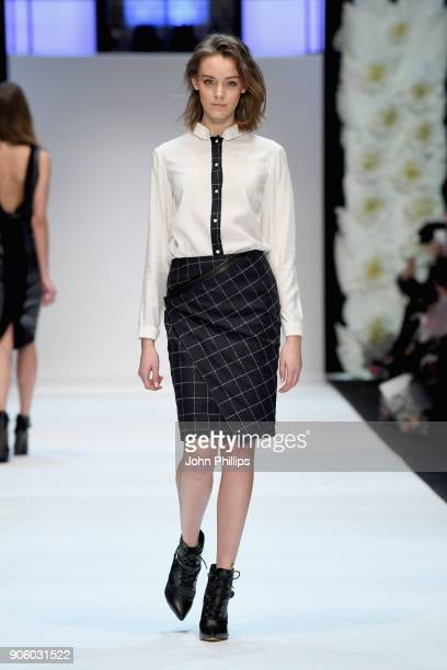 A model walks the runway at the Maisonnoee show during the MBFW Berlin January 2018 at ewerk on January 17 2018 in Berlin Germany
