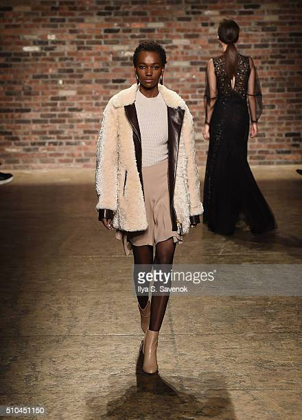 A model walks the runway at the Maiyet fashion show during Fall 2016 New York Fashion Week at Cedar Lake on February 15 2016 in New York City