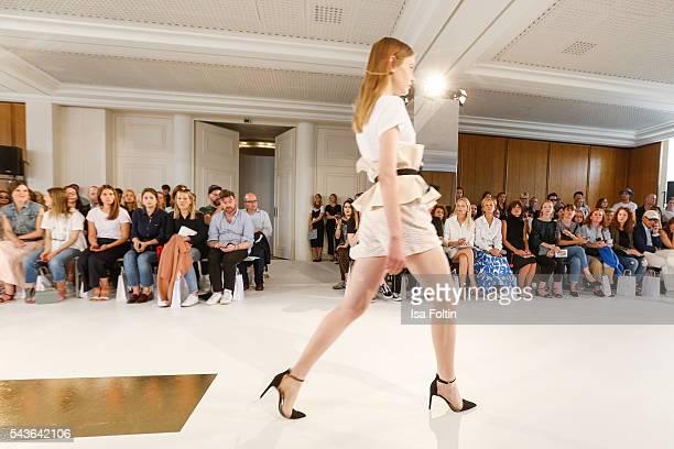 Model walks the runway at the Malaikaraiss defilee during the Der Berliner Mode Salon Spring/Summer 2017 at Kronprinzenpalais on June 28, 2016 in...