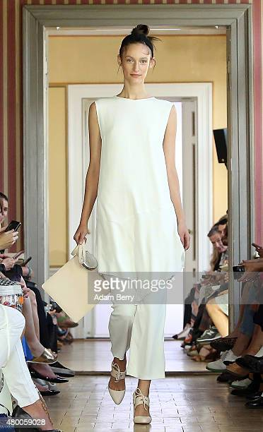 A model walks the runway at the Malaikaraiss show during MercedesBenz Fashion Week Berlin Spring/Summer 2016 at the Palais am Festungsgraben on July...