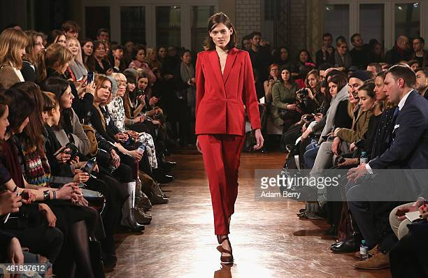 A model walks the runway at the Malaikaraiss show during the MercedesBenz Fashion Week Berlin Autumn/Winter 2015/16 at FAZ Atrium on January 20 2015...