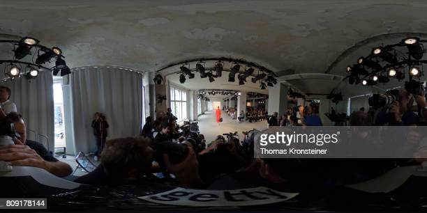 A model walks the runway at the Malaikaraiss show during the MercedesBenz Fashion Week Berlin Spring/Summer 2018 at Kaufhaus Jandorf on July 5 2017...