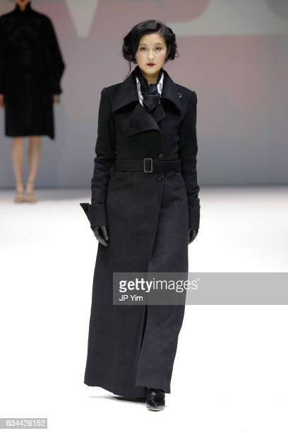 A model walks the runway at the Malan Breton Collection at The Theater at Madison Square Garden on February 9 2017 in New York City