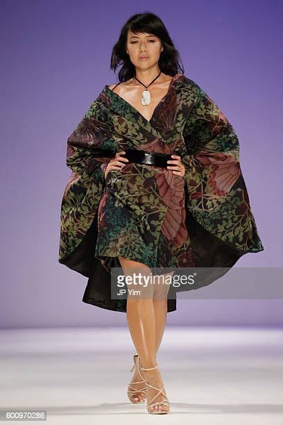 A model walks the runway at the Malan Breton fashion show during New York Fashion Week September 2016 at Hammerstein Ballroom on September 8 2016 in...