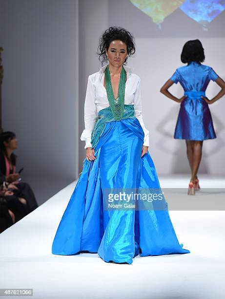 A model walks the runway at the Malan Breton fashion show during Spring 2016 New York Fashion Week at Gotham Hall on September 10 2015 in New York...
