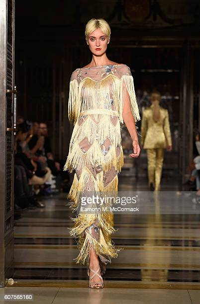 A model walks the runway at the Malan Breton show at Fashion Scout during London Fashion Week Spring/Summer collections 2017 on September 18 2016 in...