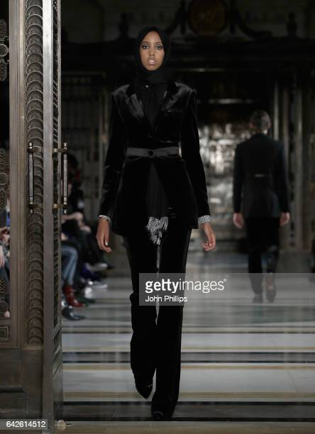 A model walks the runway at the Malan Breton show at Fashion Scout during the London Fashion Week February 2017 collections on February 18 2017 in...