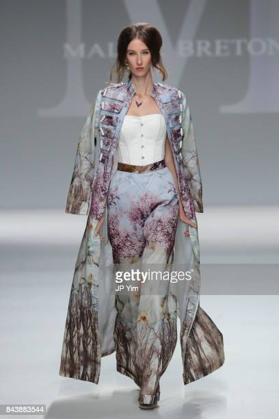 Model walks the runway at the Malan Breton SS18 during New York Fashion Week at Intrepid on September 7, 2017 in New York City.