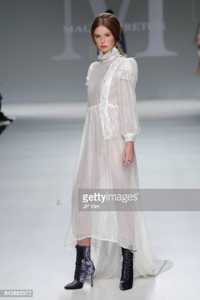 A model walks the runway at the Malan Breton SS18 during New York Fashion Week at Intrepid on September 7 2017 in New York City