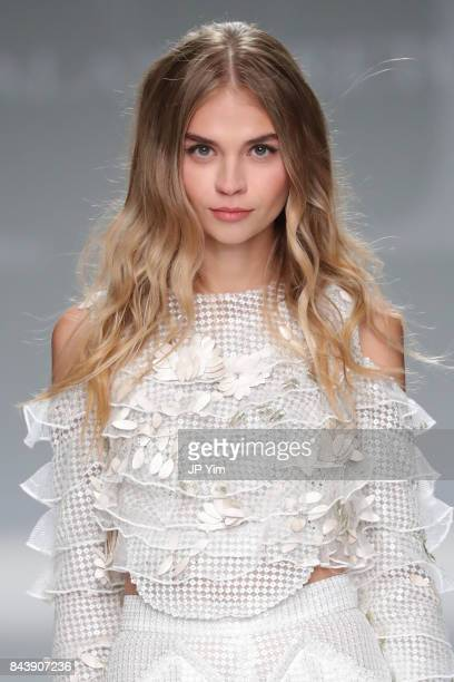 A model walks the runway at the Malan Breton SS2018 Collection during New York Fashion Week at Intrepid on September 7 2017 in New York City