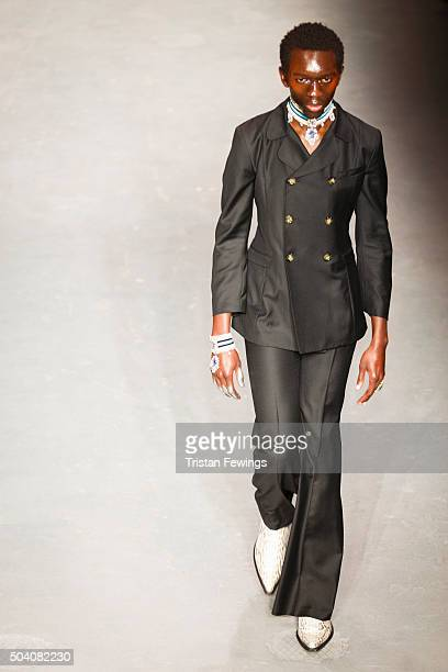 A model walks the runway at the MAN Wales Bonner show during The London Collections Men AW16 at Topman Show Space on January 8 2016 in London England