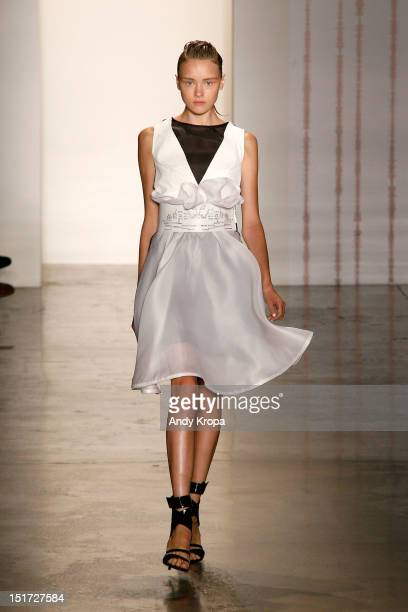 Model walks the runway at the Mandy Coon Spring 2013 fashion show at Milk Studios on September 10, 2012 in New York City.