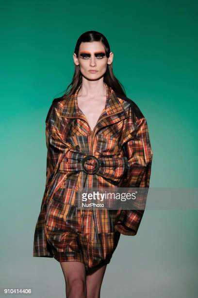 A model walks the runway at the ManeMane fashion show during the Mercedes Benz Fashion Week Autumn/Winter 2018 at the Casa de Correos on January 25...