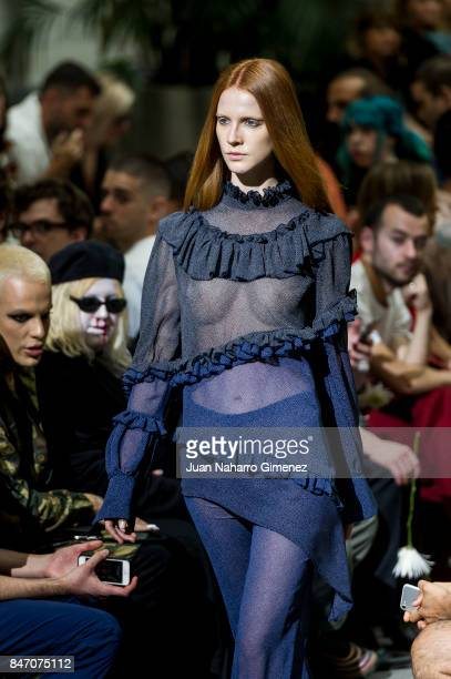 Model walks the runway at the Manemane show during the Mercedes-Benz Fashion Week Madrid Spring/Summer 2018 at Palacio de Cibeles on September 14,...