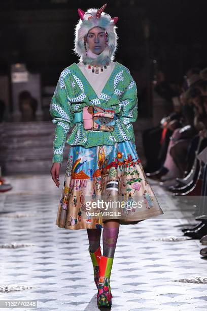 Model walks the runway at the Manish Arora Ready to Wear fashion show at Paris Fashion Week Autumn/Winter 2019/2020 on February 28, 2019 in Paris,...