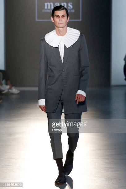 Model walks the runway at the Mans Concept Menswear show during Barcelona 080 Fashion Week Spring/Summer 2020 on June 26, 2019 in Barcelona, Spain.