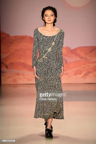 A model walks the runway at the Mara Hoffman fashion show during MercedesBenz Fashion Week Fall 2015 at The Salon at Lincoln Center on February 14...