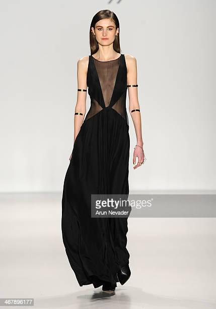 A model walks the runway at the Mara Hoffman fashion show during MercedesBenz Fashion Week Fall 2014 at The Salon at Lincoln Center on February 8...