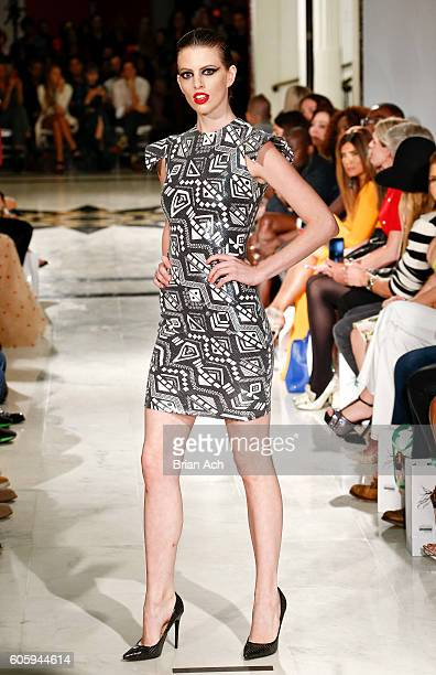 A model walks the runway at the Marc Bouwer fashion show during New York Fashion Week September 2016 at The Museum of the City of New York on...