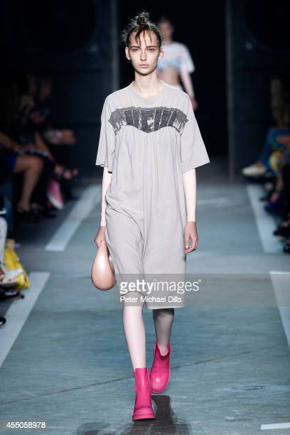 A model walks the runway at the Marc By Marc Jacobs fashion show during MercedesBenz Fashion Week Spring 2015 at Pier 94 on September 9 2014 in New...