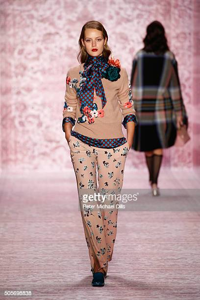 A model walks the runway at the Marc Cain show during the MercedesBenz Fashion Week Berlin Autumn/Winter 2016 at Brandenburg Gate on January 19 2016...