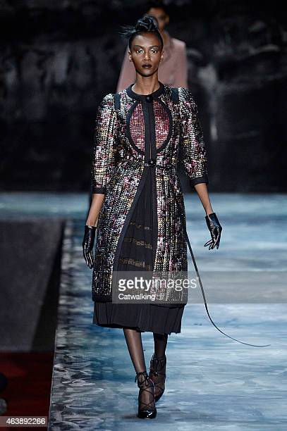 A model walks the runway at the Marc Jacobs Autumn Winter 2015 fashion show during New York Fashion Week on February 19 2015 in New York United States